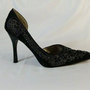 7d718f4031 Anne Michelle Shoes | Beaded Dorsay Stilettos Black | Poshmark